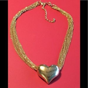 Vintage Avon Multi-Strand Gold Tone Necklace HEART